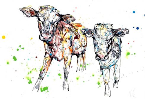 Kathryn Callaghan Artist - 'Daisy and Dot' Cows Limited Edition Textured Print